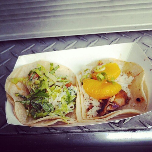 Tacos from @komodofood. 1 chicken, 1 shrimp. Pretty good. #E3 #food  (Taken with instagram)