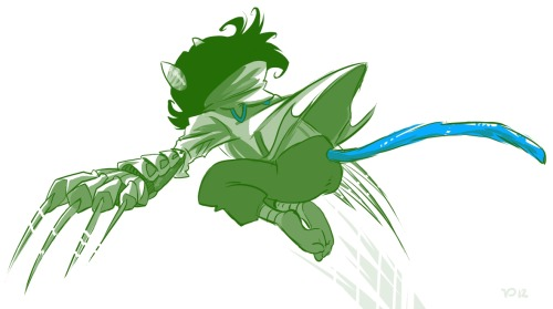 "OOOS nepeta takes a flying leap. just a sketch i finished because i liked the claw glove. for content: nepeta is a speed striker. she has the highest frond-to-frond kill count (sollux has her beat if you count telekinesis). she once referred to her work as ""pounce-CUTE-ion"" and vriska whacked her upside the head with a chunk of fruitcake. equius builds all of nepeta's weapons with pilfered starship alloy so the equipment won't slow her down. things that luka thinks way too hard about.jpg"