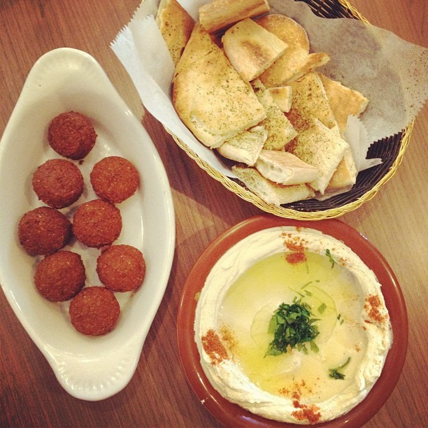 Hummus, pita chips, and FALAFELS!!!!  (Taken with Instagram at The Brick Oven)