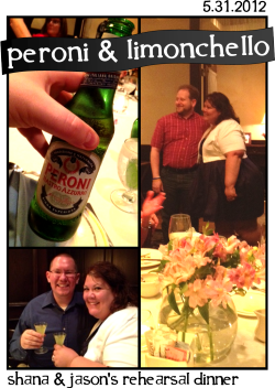 Peroni & LimonchelloPart 1 of 3S+J Wedding WeekendWe begin waaaaay back last week on Thursday at a Rehearsal dinner at Maggiano's Little Italy in Beachwood, Ohio.  Joe and I had just drove in from DC back to our birthplaces of Ohio, because let's face it, free food and booze were offered.Otherwise, we avoid Ohio pretty thoroughly. Who said that?!Ok ok, that and it was an event to end all events, a kick-off to a celebration of the highest order of awesome: it was the wedding of my fantastic friend Shana and the all too deserving Jason. And this, my friends and readers, if you knew them the way I know them, was going to be epic.And it was.But let's start a little further back even than last Thursday. Let's start a bit back in 2004. For you see, I have found that I'm this strange collector of amazing people. Typically from work or a social affair, I find interesting people, fall fast in love with their brains and processes, become quick friends and stay that way for life.I have lots of examples of this phenomena—hell, many of you reading this know this well. But one day, I met my match. Fuck that, that's a lie. Shana bests me in this category, time and time again. If I was a collector, I'm toying with thimbles and she's counting classic cars. And she'll roll her eyes and deny it, but we both know better.Shana is easy to describe, hard to define. Oddly, the same can be said for Jason, but more about him later.  Shana is magnetic, bubbly, genius, whip-smart, savvy, cutting, cunning, beautiful, funny, classy, sassy and adorably crass.  She's sweet, thoughtful, kind, would take a bullet—but not a verbal beatdown—for anyone and knows how to love deeply.So when we met, you could almost literally see the social sparks. In another setting perhaps, we might have been advisories, but thankfully on this planet, we're not. We were instant friends. We were both working for a progressive, intense youth-based non-profit. One of those, hold-on-to-your-seats-lets-hope-this-year-doesn't-kill-us-wow-where-did-the-year-go non-profits. And then she left. And then I left. But we stayed close and she became my good friend and confidant in many ways. And then one day in 2010 a bit of my life fell out below me—unexpectedly—and Shana was amazingly there to help pick up the pieces, and over time allowed me to help pick up a few for her. But I still owe her more, and always will.  And for 8 months we became closer than ever, working together day in and day out.And some might take credit for bringing Shana to Cleveland. Some might take credit for getting her to sign-up for J-Date. Oh hell, some might even take credit for birthing her (I'm looking at your Janet). But I get to take credit (some, a little) for getting her to give herself—and Jason—a fair shot and go out on a few dates with her now current Husband.I mean, I wasn't ON any of the dates. I just like to think I played even a tiny part. But I could be crazy. As always. It's my resting mode. So, that's briefly how Shana and I met and fell in friend-love. Flash forward to last Thursday and here were Joe and I fresh from the road at an Italian restaurant to kick-off the weekend-long celebration that became known as #WeddingWeekend.It had been well mentioned that Shana and Jason were going to toy with my liver by making sure I had more firstdrinks with them during their nuptials than I'd had done before. And they were not fucking around.On night one we started with a Peroni Nastro Azzurro, a classic, common Italian beer. The beer was ok. Sweet, highly carbonated, musky, tart and strangely, darkly yeasty. It has tea-like tannins with a sweet brown bread finish.  The alcohol flavor in the beer was pretty pronounced and only yelled louder as it warmed. It was alright. The finish was damn nice, but the front flavors were, well, no unpleasant, but not as delicious as I would have liked. The dinner was amazing, course after course, plate after plate of tasty Italian salads, pasta and proteins. And then the dessert was what can only be described as ice cream sliders made with vanilla bean ice cream stuffed between homemade baked profiteroles smothered in hot fudge and whipped cream. I kid you not when I tell you that when the giant platefulls rounded the corner into the room, our table literally erupted into applause. Literally.Oh, but we were not done yet. As everyone was leaving for the night—many on one of the dozen chartered shuttles Shana procured for the weekend like a logistical champ—she pulled me aside and asked if I wanted to do a shot of Limonchello with her. I said yes, she ordered several rounds for a table of folks and down then went (photo above).Lemon Pledge anyone? No no, it wasn't that bad, but it did haunt me with that notion. It was a lemon-flavored punch in the throat and sinuses. Tangy, sweet, strong and bold. Much like the hostess herself.  I appreciated the flavor and punch, but it wouldn't be a drink I'd frequent, honestly. And I'm a lemon fan.It was a fun evening and joy was shared by all, as were a few tears at Shana and Jason's thank yous to everyone and their families to kick-off the festivities. And this was only the beginning. All in all, I had 8 firstdrinks and 10 all together in 4 days. More about that situation later, I promise. You'll just have to wait for them over the next few days. So stay tuned. They're coming. The Shana & Jason #WeddingWeekend was only getting started. My poor, poor liver.Cheers, Ben PS: Shout out to Donna and Joel for hosting such a wonderful rehearsal dinner. The drinks and food were a wonderful gift from them and it was appreciated by everyone. So much so, I've almost completely forgotten how Joel sat an entire 3 feet from the table banging his chair into my back every 2 minutes. Almost.