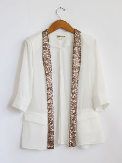 Chiffon Cut Out Sequin Collar Blazer *HOT BUY* Only $44 at Mickey's Girl www.mickeysgirl.com