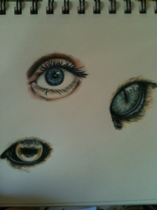 mainriver:  Eyesss  What is that? Coloured pencil or watercolor, I can not tell from the photo.