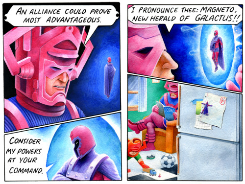 "pbfcomics:  ""Magneto: Herald of Galactus"" - one of several PBF-flavored pieces commissioned by Marvel for their Strange Tales series."