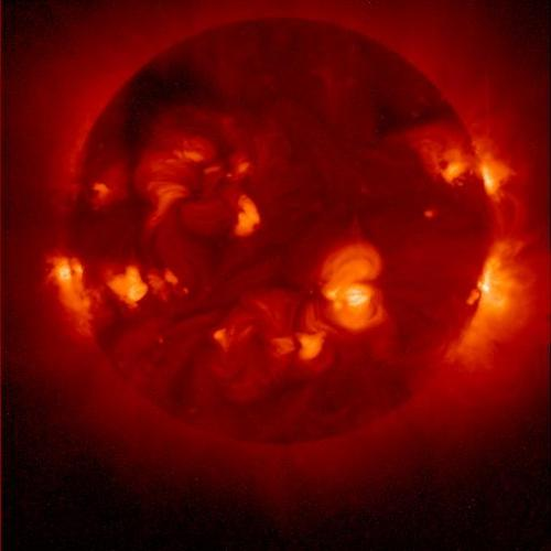 "thewherefores:  Soft x-ray emission from the sun:  The outer part of the Sun's atmosphere is a churning cauldron of hot gas, heated by magnetic processes which originate in the solar interior. The gas in the outermost part of the solar atmosphere (the solar ""corona"") gets heated to millions of degrees, and is an abundant source of soft X-rays. The X-ray emission from the solar corona is a measure of the amount of heat in the outer solar atmosphere, and a measure of the magnetic activity in the sun's interior. The image above shows the soft X-ray emission from the solar corona; dark regions are regions of little X-ray emission, while brighter regions show parts of the sun where X-ray production is abundant. Note that the emission is not uniform around the sun, and that a large fraction of the bright emission is in the form of ""loops"" anchored in the solar surface and extending into space. The image above was obtained on November 23, 1999 by the Soft X-ray Telescope, on board the Japanese satellite Yohkoh (""sunbeam"") . The Yohkoh mission is a Japanese solar observatory (with US and UK participation) which was launched on August 31, 1991. Yohkoh is designed to answer many questions about the physics of the solar corona and solar flares. The Japanese Institute for Space and Astronautical Sciences (ISAS) provides overall program management, the launch vehicle, the mission instruments, and a Wide Band Spectrometer. The Soft X-ray Telescope was designed by the Lockheed Palo Alto Research Laboratory, under NASA support, in collaboration with the National Astronomical Observatory of Japan and the University of Tokyo. Yohkoh has become a vital tool for observing and attempting to understand solar flares."