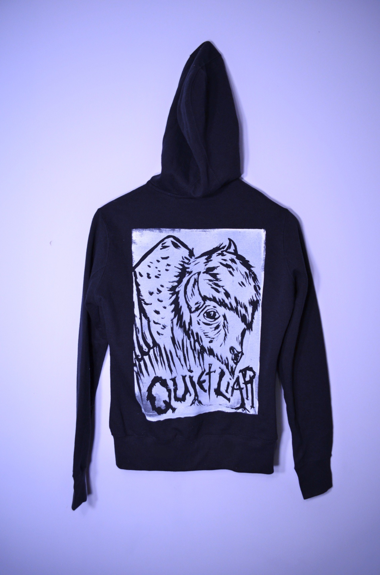 put the new buffalo print on a plain black hoodie i had lying around. the nice thing about being a screen printer: printing cool designs on all your clothes. haha www.facebook.com/quietliarclothing