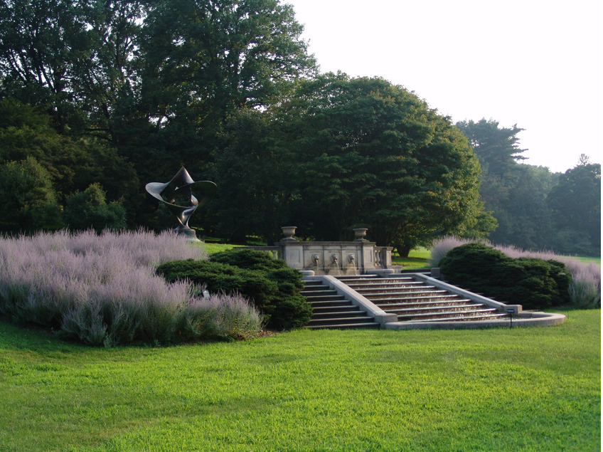 The Step Fountain at the Morris Arboretum, University of Pennsylvania in Philadelphia, Pennsylvania, U.S.     Hmmm. Villandry, now this. I'm beginning to I think Russian Sage (Perovskia, spp.) may be a perfect fit for evergreens in formal gardens.