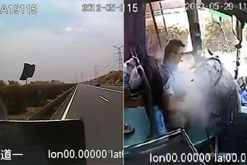 Bus driver is hit by piece of metal while speeding down road — but saves passengers before dying