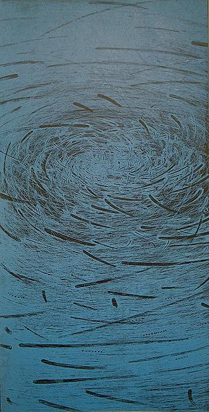 Takahiko Hayashi | on Tumblr - Nest of Winds 2P. Print intaglio with chine colle, 24x12 inches (2005)