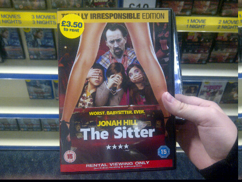 Looking in Blockbuster I found a copy of 'The Sitter' where someone replaced Jonah Hill's face with Nicholas Cage's face