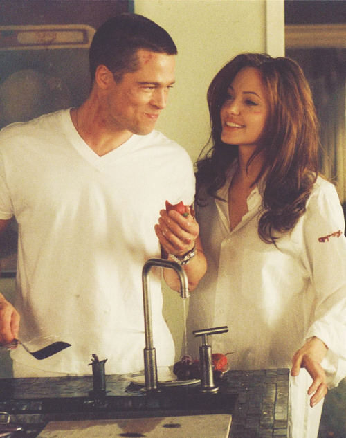 alyssaemilie:  where brad and angelina met, on the set of mr, and mrs. smith (2005)