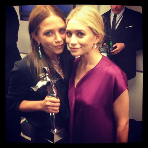Mary-Kate and Ashley Olsen with their award. Photo by David X. Prutting / BFAnyc.com Womenswear Designer of the Year!