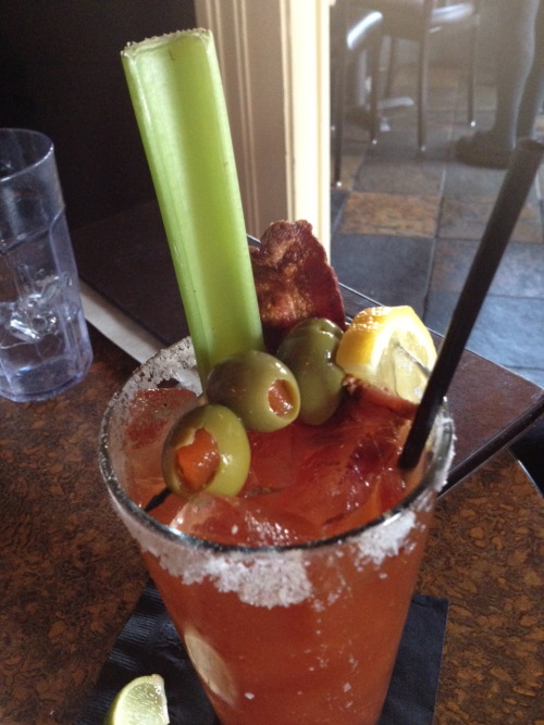 Love the bloody marys at Pope House! fknportland:  Not only are celery and olives key ingredients in a bloody mary, so is bacon. Fkn Portland…
