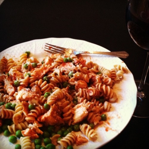 Delicious pasta dinner with @NickHuddles (Taken with instagram)