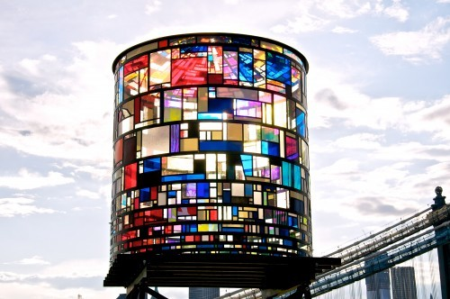 "samaralex:  Watertower by Tom Fruin ""Beginning June 7th, the tower will be lit from within by digitally-controlled light sequences playing from dusk till morning for a full year. A welcome addition to Brooklyn's skyline,Watertower will be visible from Lower Manhattan, FDR Drive, and the Manhattan and Brooklyn Bridges at night"" Can't wait to see this."