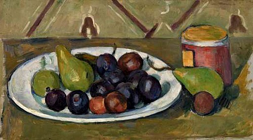 Paul Cezanne Plate with Fruit and Pot of Preserves 1880-81