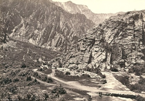 Big Cottonwood Canyon, Utah, in 1869. A man can be seen with his horse at the bottom near the bridge (right).  From this great collection of Timothy O'Sullivan photos.