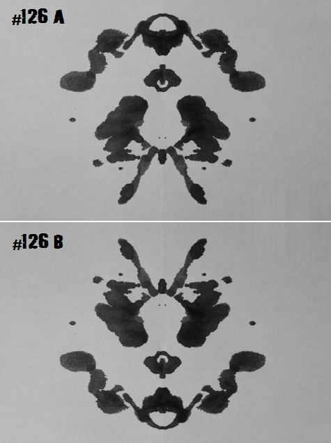 "lungs-:  catholicnun:  frickk:  inkblotoftheday:  Inkblot #126 (a&b) Instructions: Tell me what you see. Note: I really liked this one from both sides so here they are. -Enjoy  a) pippi longstocking b) a bug with his arms up like ""whatever""  1: a frog 2: a dog  a rabbit a face  mewtwo thanator things from avatar"