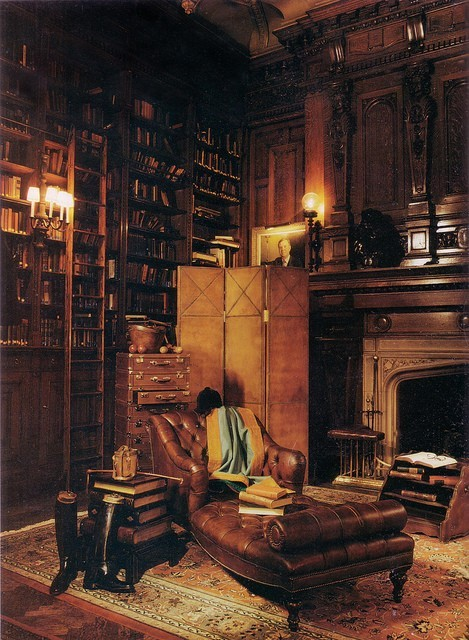 Books, wooden paneling, architectural details, high ceiling, fireplace, leather chaise, warm throw-I can almost feel the patina of this timeless luxury!