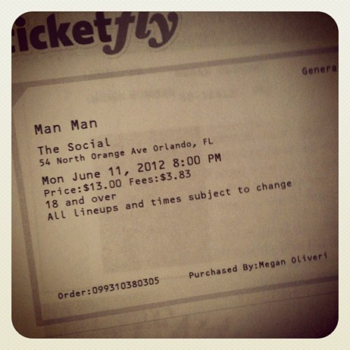 Man Man ticket: PURCHASED! #manmam#concert#ticket (Taken with instagram)