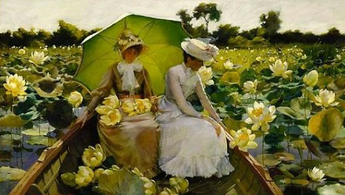 stilllifequickheart:  Charles Courtney Curran Lotus Lilies 1888