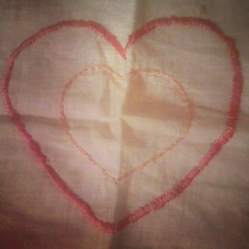 I cant believe i #stitched this:) i did a pretty good job #hearts #pink #stitching #homeeconomicsclass #cute #old #classwork #Philippines  (Taken with instagram)