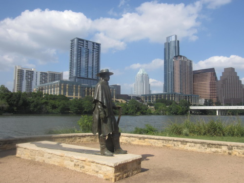 my view. stevie ray vaughn statue. austin, tx