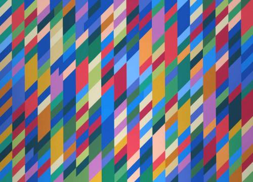 "blaaargh:  Bridget Riley, Nataraja, 1993 ""In the 1980s, following a visit to Egypt, Bridget Riley's work changed significantly. Adopting what she called an 'Egyptian Palette', her work attained a new chromatic intensity. In order to focus on issues of colour, she greatly simplified the formal organisation of her paintings. Between 1980 and 1985 she reduced her compositions to severe arrangements of vertical stripes, a device which she had used previously between 1967 and 1973. In 1986, Riley's work achieved even greater visual resonance as the result of her adoption of a diagonal compositional format. The composition is first of all worked out on paper in gouache by the artist, and then transferred onto canvas with the help of assistants. ""Nataraja is an exemplary diagonal stripe painting. The surface is divided vertically and diagonally, creating a multiplicity of discrete areas of colour. The complexity of the colour relationships is formidable. Many of the colours exist in as many as twenty different shades. The position of each of these elements has been carefully judged in terms of correspondence, contrast and proportion. ""A principal difficulty of this kind of composition is that of creating a unified and balanced field of visual sensation which, at the same time, is organised dynamically in terms of individual colours. Nataraja demonstrates Riley's success in relating similar and contrasting colours in a way that sustains a saturated intensity of colour across the entire picture plane. ""Nataraja is a term from Hindu mythology, which means Lord of the Dance. It refers to the Hindu god Siva (Shiva) in his form as the cosmic dancer. Sculptures of the dancing Siva, who is usually presented with four arms, are displayed in most Saiva temples in South India. Siva's dance represents his importance as the source for all movement in the universe. Riley's use of the term Nataraja thus refers to the emphasis on rhythm and counter-rhythm, which are central elements in the painting."""