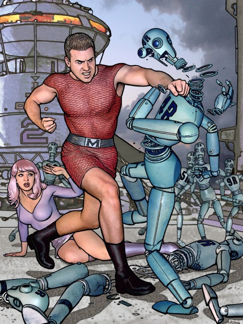 Paul Guinan adds to the Magnus, Robot Fighter Periscope/Tumblr riff with his take on the robo-hating hero. Note Anina Bennett as the damsel in distress.