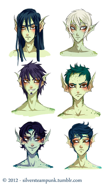 A race from my story; they are fish people.  =3=  These are the men…  I will upload some ladies some other time maybe…. I'm still in the design process, but this is basically what they look like.  They have greenish skin and normally have dark hair and amber eyes.  Though sometimes they are born with lack of pigment and have white-ish hair and light blue eyes. XD  It's not very common though…. especially not in males.  Biologists are still trying to discover the reasons behind it. XD