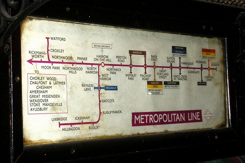tsarevitchalexei:  Old map of the Metropolitan Line, London