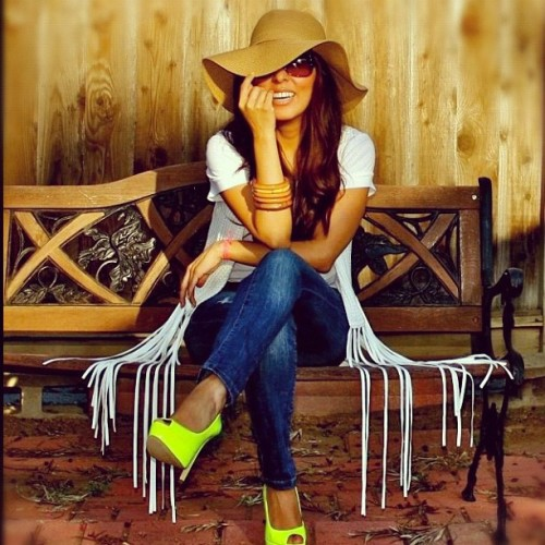 Crochet and Fringe on my blog today! #fashion #style #neon #shoes #shoelover  (Taken with instagram)