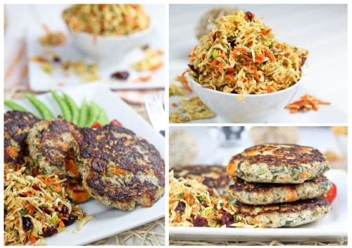 thehealthyfoodie:  Sweet Potato and Kale Chicken Patties and a Super Healthy Coleslaw