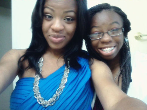 My little sister and I [: I love my liddle darkie haha <3