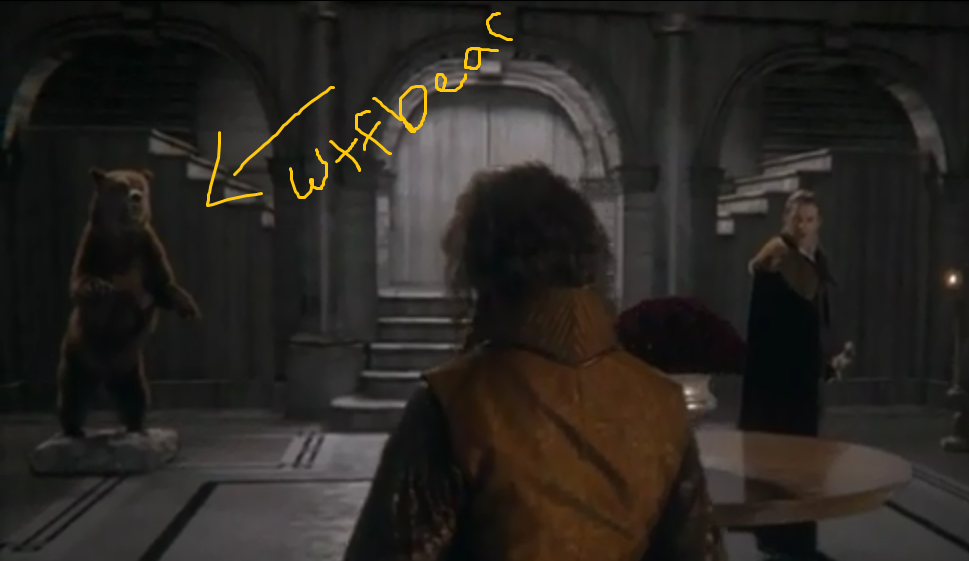agoodflyting:  How did I not notice until now that Rumplestiltskin has a MASSIVE STUFFED BEAR in his foyer? This is possibly the single most question-raising incident in all of OUAT for me. Where the hell did he get a bear? Did he buy it? Was it some horrible Christmas present from Regina? Or did he just, like, decide that that spot was looking kinda empty and just go kill a bear to put in his foyer? Why do I really want to see Rumples fighting a bear now?  I love Rumple's bear. Now I want Belle to ask him about it, because I'm sure that's the first thing she'd notice when she walks into that room.