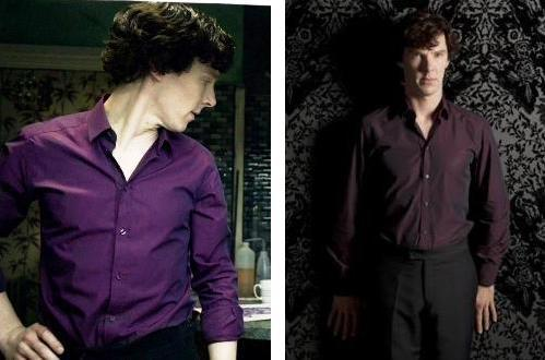 whatareyouwearingbenedict:  Purple shirt of sex vs Purple shirt of not sexy at all.Both are shirts and both are purple. One looks so hot it hurts, the other… well, it does hurt.