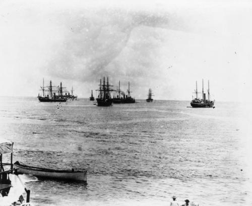 Alfred John Tattersall, German, British and American warships in Apia harbour, Samoa, 1899.