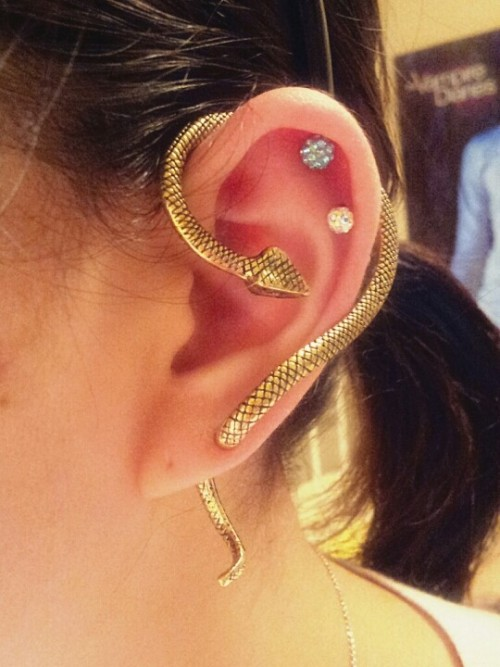 Gold snake earrings (Photo by jhbae1205)