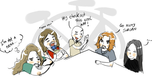 OMG this is soo cute! Is that Petrucci then Mangini then Rudess then LaBrie then Myung?