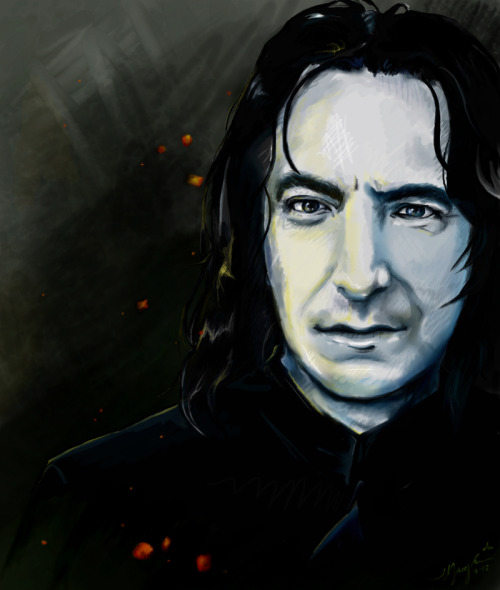 snapeart:  Severus by Bluedragonpearls