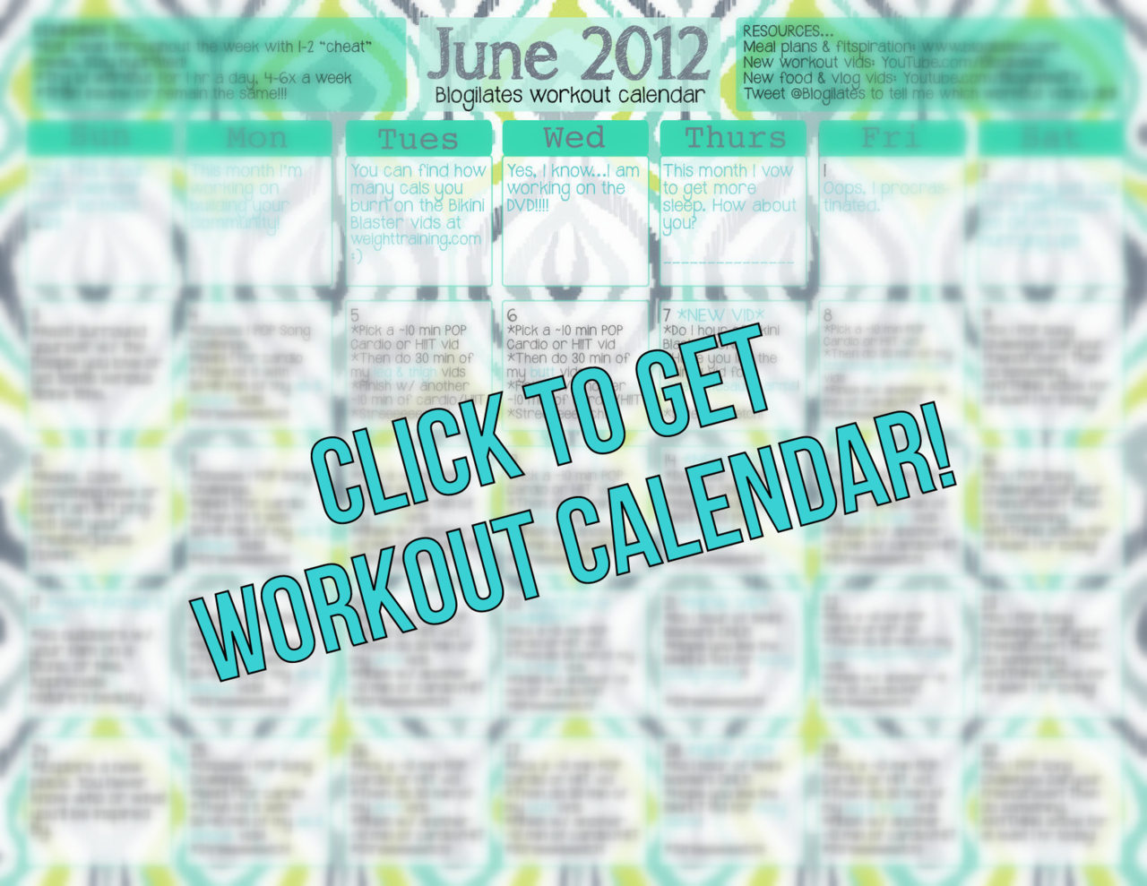 I just released the first ever Blogilates Workout Calendar for June 2012! To get the secret password to view it, please sign up for my newsletter (free) and I will email it to you. You can sign up here (top right hand corner of blog). Sign up now because I will email again before I go to bed. Enjoy POPsters! Love you so much :) <3 Cassey PS…if nothing is loading, I'm really sorry. It must be the traffic. Try to come back later after the traffic from this post dies down. I'm trying to take care of the issue ASAP. Hopefully I can handle all u guys at once by the end of the week :) Thanks for your patience.