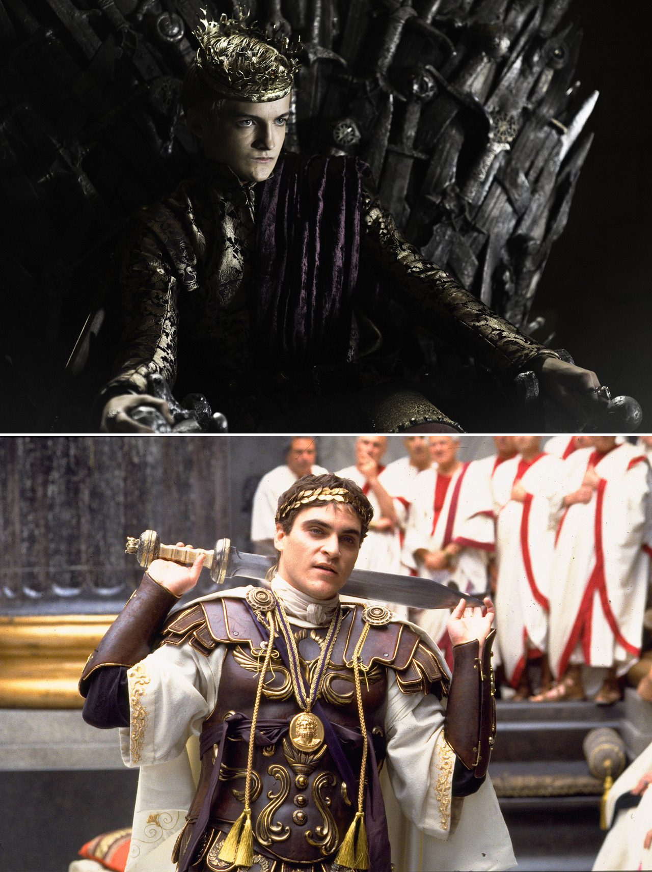 bohemea:  GQ: What performances influenced King Joffrey's petulant brand of evil? Jack Gleeson: A big influence was Joaquin Phoenix in Gladiator. Sometimes when I'm sitting on my throne, I think of Phoenix sitting on his, with that smirk on his face. KISS HIM!