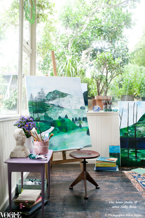 Artist Sally Ross paints portraits but is increasingly enthralled by landscape painting. Ross searches through old books and album covers to find source material for such pastoral idylls as Black Tree, above. From 'Turning Point', a story on page 89 of Vogue Living May/June 2012, on news stands and Zinio now. Photograph by Alicia Taylor.