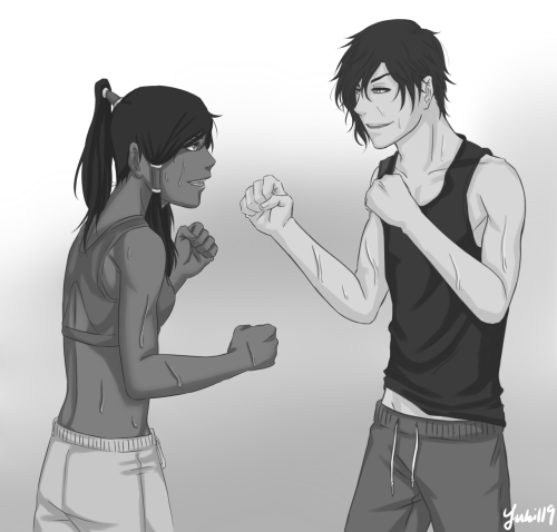 yuki119:  Tahno and Korra during thier morning warm up…if you know what I mean *raises eyebrows*