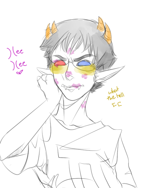 "freedomconvicted:  "")(ey Sollux! I just got N—-EW LIPSTICK!"" I just… want this to happen. I have this weakness for girls smothering their crushes in kisses with defining lipstick 'cause its so fucking cute!!!"