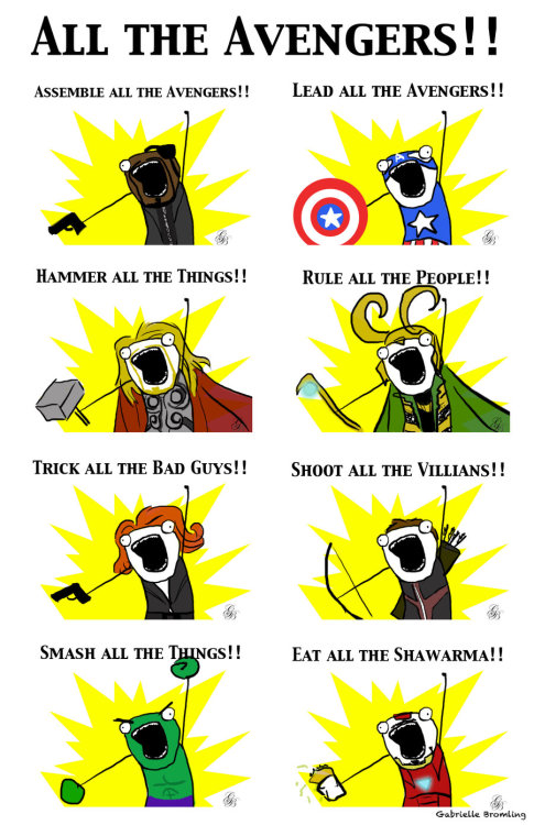 my-writing-heart:  becks28nz:  All the Avengers by ~BlueRose-16 Wins the internets today!  EAT ALL THE SHAWARMA xD  HAHAHHAHA TONY!