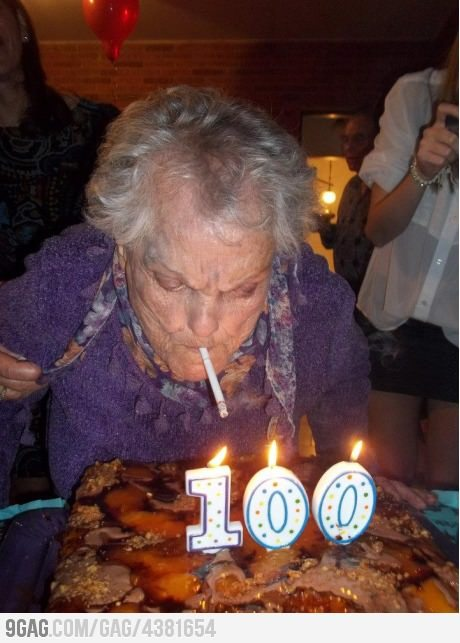 9gag:  100 years old and still not giving a fu**.