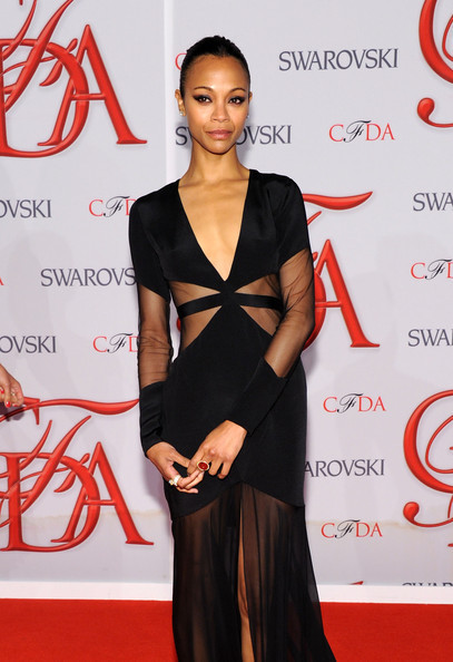 Zoe Saldana looking fabulous in Prabal Gurung and Cartier jewellery at the 2012 CFDA Fashion Awards on June 4th, 2012.