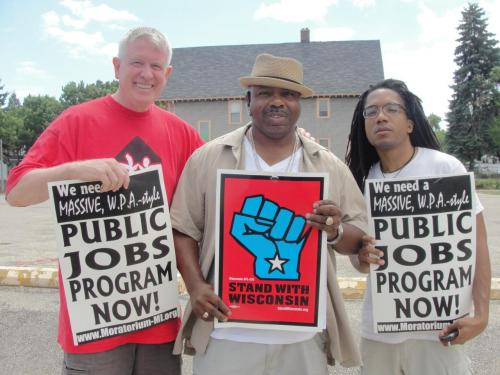 fuckyeahmarxismleninism:  Ed Childs, left, Chief Steward UNITE HERE Local 26 in Boston, Gilbert Johnson, president of AFSCME Local 82 at UW-Milwaukee and Larry Hales, right, national leader of the Bail Out The People Movement in Milwaukee August 14, 2011.  Photo: wibailoutpeople