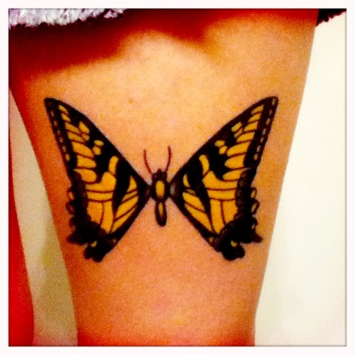"paramoretattoos:  I got this on my left thigh about 3 weeks ago. It's my first tattoo and I couldn't be happier. To me, it represents my adoration for the band's meaningful lyrics & inspiring members, and my overcoming the difficulties of Army basic training. I wanted the butterfly because it's not an obvious Paramore tattoo. To most people that see it, it'll just be a simple butterfly. But to those who know Paramore, they'll recognize why I wanted to remember them and think about them every day for the rest of my life. The guy that did it changed some of the original (like reversing the colors of the stripe on the body) so it would last longer and look ""more like a tattoo."""