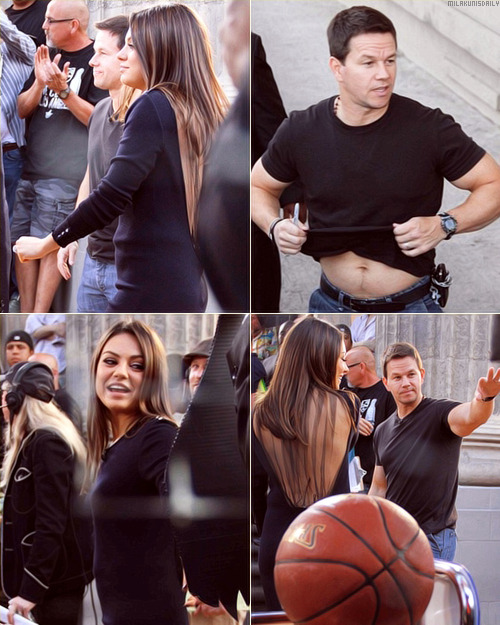 milakunisdaily:  Mila Kunis and Mark Wahlberg filming a skit for an upcoming appearance on Jimmy Kimmel Live. The filming took place on Hollywood Boulevard. Can't wait to see the skit.